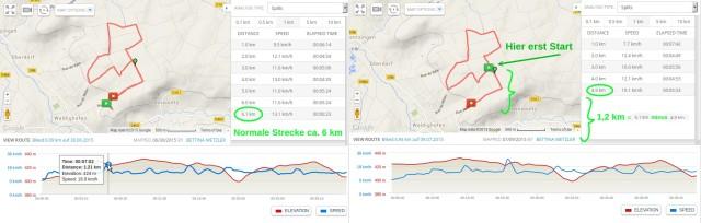 Der GPS-Tracker entdeckt uns erst 1,2 km nach dem Start!